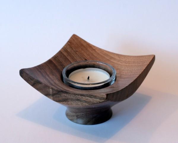 Eckiges Teelicht aus ingelheimer Nussbaum offene Form