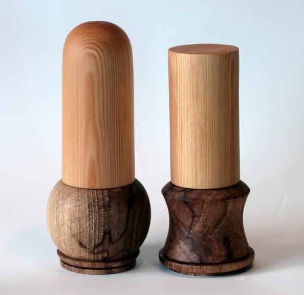 Universalmühlen-Paar aus Kiefer und Walnuss-Maserholz Paar Nummer 2